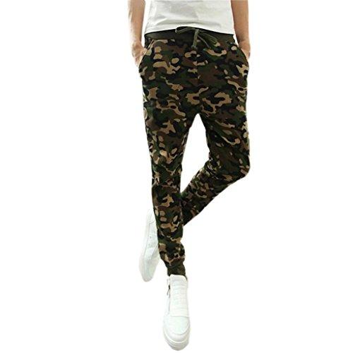 n Camouflage Trousers Men Pants Casual Pants Sweatpants Sport Drawstring Long Pants (Camouflage, M) ()