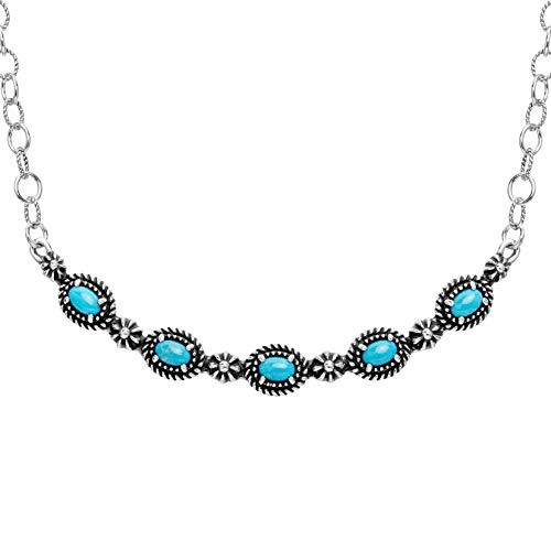 American West Sterling Silver Turquoise Gemstone 5-Stone Necklace 18 Inch