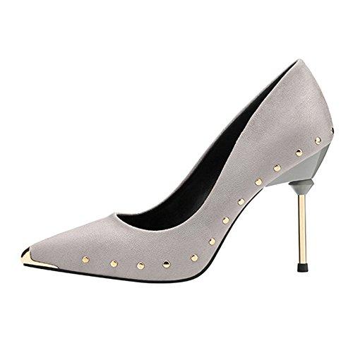 Grey Alti Scarpe Metallo Shallow Lavoro Stiletto Chiuso Nightclub Tacchi Sexy Rivetti Partito Pumps Court Cy Da HqZ1npt