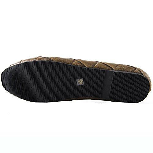 Aisun Donna Comfort Cap Toe Soft Low Cut Driving Go Slip Slip Baller Flat Con Fiocchi Marrone