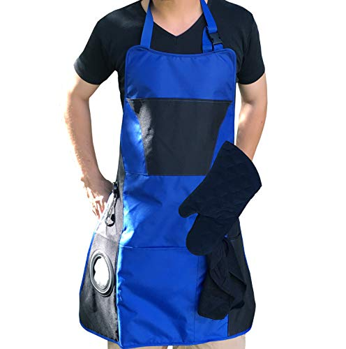 (Lifestyle Banquet Blue BBQ Apron for Men with Beer Pocket and Bottle Opener Plus BBQ Grill Accessories (Oven Mitt and Hand Towel) - Grill Apron for)
