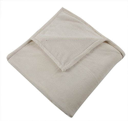 Somewhere Super Soft Wear-Resistant Coral Fleece Blanket King Size 90 x 108 Inches,Ivory
