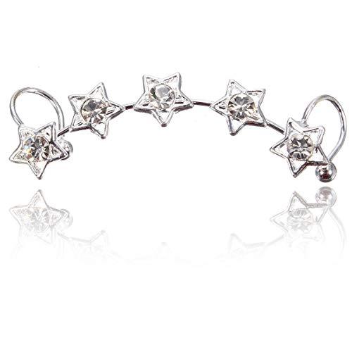 Star Flower Ear Cuff Stud Crystal Wrap Clip Earring Jewelry Gift sakcharn (Silver) ()
