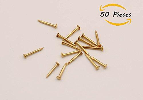50 PCS Miniature Nails Round Head Brass Nails Doll Houses (0.04*0.39'') my minidream