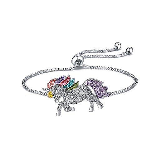 celets for Girls Rainbow Unicorn Adjustable Chain Sliding Clasp Bracelet for Women ()