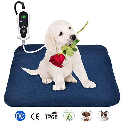 BohoFarm PVC Heating Pad for Dogs Heated Pet Bed Mats 1818inch Electric Cat Heating Pad Waterproof Adjustable Chew Resistant Steel Cord