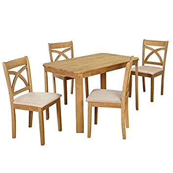 Target Marketing Systems The Verbena Collection Complete Collection  Contemporary Dining Set with Table and 4 Chairs, Natural Oak
