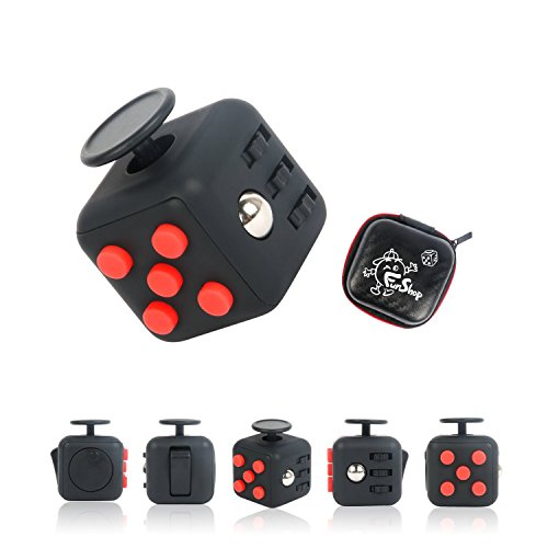 Fun Cube Relieves Stress And Anxiety Fidget Toy for Children and Adults (Black/Red)