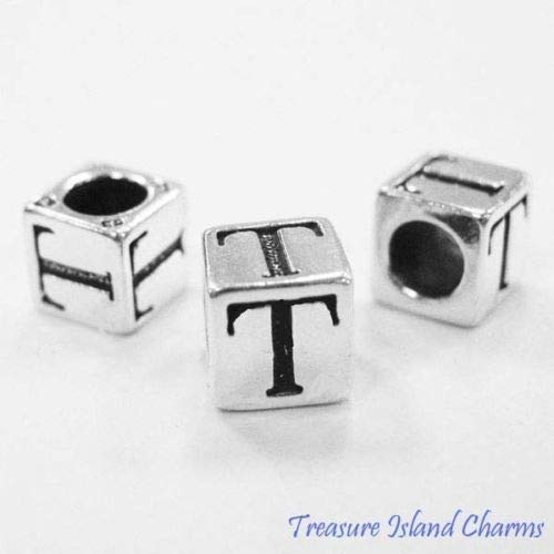 (Letter T 925 Solid Sterling Silver Alphabet 7mm Block Bead 5mm Hole Diameter Crafting Key Chain Bracelet Necklace Jewelry Accessories Pendants)