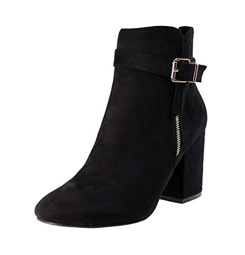 New Womens Ladies Ankle Boots High Block Heel Buckle Side Zip Casual Shoes Black