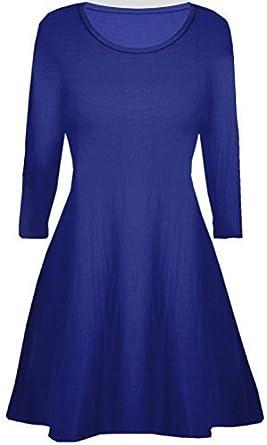 Fashion Star Kids Girls Womens Plain Long Sleeves Flare Franki A Line Mini Skater Swing Dress Top Age 5-13 Years