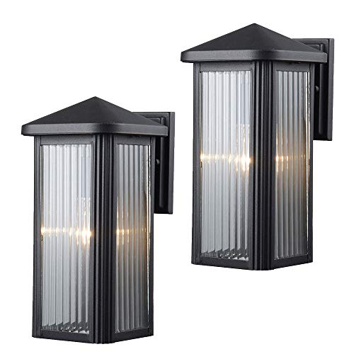 Hardware House 23-0667 Black Outdoor Patio / Porch Wall Mount Exterior Lighting Lantern Fixtures with Clear Strip Glass - Twin Pack