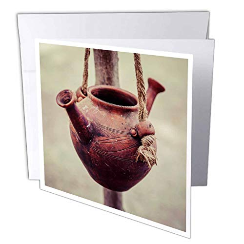 3dRose Alexis Photography - Objects Kitchenware - A Ceramic jar with Two noses Hangs on a Rope. Vintage Water Vessel - 12 Greeting Cards with envelopes (gc_308106_2)