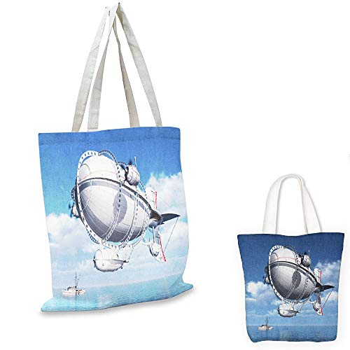 (library tote bag Zeppelin Giant Aircraft over the Sea Flying in Cloudy Sky Adventure Journey Image Violet Blue Grey pocketable shopping)