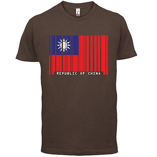 Republic of China / Republik China (Taiwan) Barcode Flagge - Herren T-Shirt - Schokobraun - M