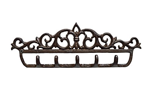 gasare, Cast Iron Key Holder for Wall, Decorative Hooks, 5 Hangers, 12.5 x 4.75 Inches, Cast Iron, Antique Brown Color, Screws and Anchors,1 Unit