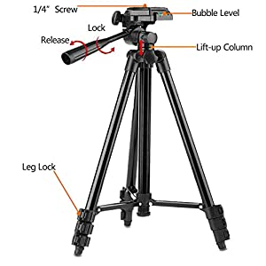 "Tripod for iPad and iPhone [UPGRADED], PEYOU 50"" Inch Portable Lightweight Aluminum Phone Camera Tablet Tripod with 2 in 1 Universal Mount Holder for Smartphone(Width 2-3.3"") and Tablet (Width 4.3-7"")"