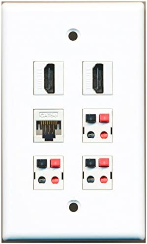 1 Port Toslink and 1 Port 3.5mm and 1 Port Cat6 Ethernet White Decorative Wall Plate Decorative RiteAV