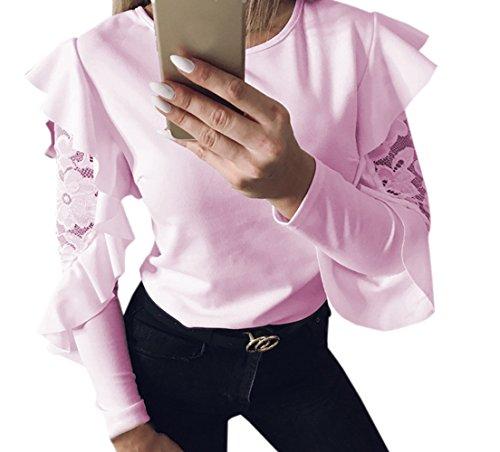 Mode Rose Rond pissure Shirt Hauts Slim Manches Tops Chemisiers Blouse Jumpers Longues JackenLOVE et Automne Femmes Feuille de Printemps t Pulls T Col Lotus Dentelle C Casual nOxqwF1Y