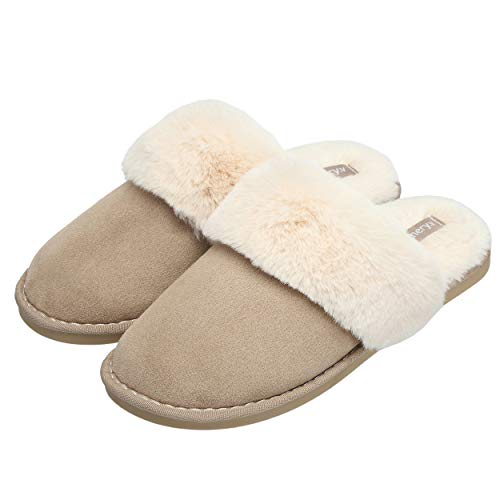 LINGTOM Womens Slipper Fluffy Memory Foam Slip On House Slippers Anti-Skid Indoor Outdoor Clog Shoes for Winter, Khaki