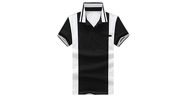 Cromoncent Men Summer Casual Stripe Short Sleeve Polo Shirt T-Shirts