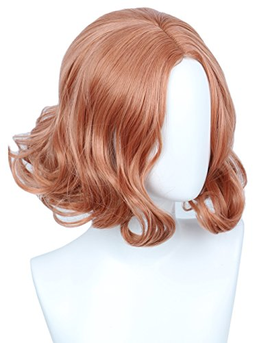 (Linfairy Short Pink Curly Wig for Women Halloween Costume Wig)
