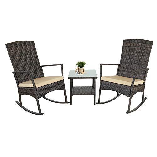 Rattaner Outdoor 3 Piece Wicker Rocking Chair Set Patio Bistro Set Conversation Furniture -2 Rocker Chair and Glass Coffee Side Table-Mix Brown Rattan& Yellow Cushion