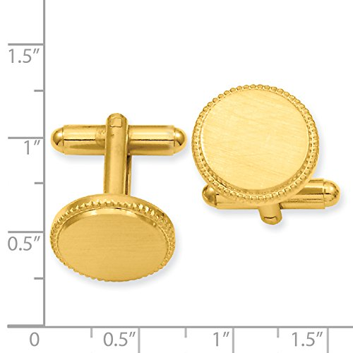 Jewelry Pot Stainless Steel 14K Gold Plated Engravable Florentined Round Beaded Cuff Links