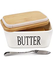 AngLink maselniczka porcelanowa, miseczka na masło na 250 g masła, ceramiczna maselniczka emaliowana z pokrywką, biała