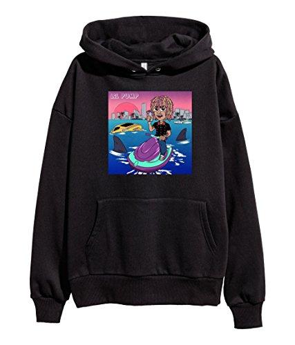 Lil Pump Mixtape Cover Black Hoodie Hip Hop Rap Hooded Sweatshirt Black (Small)