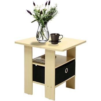 Furinno 11157sbe Bk End Table Bedroom Night Stand W Bin Drawer Steam Beech Black