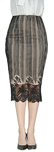 Marycrafts Women's Lace Lined Pencil Knee Length Midi Skirt XS Basket Texture