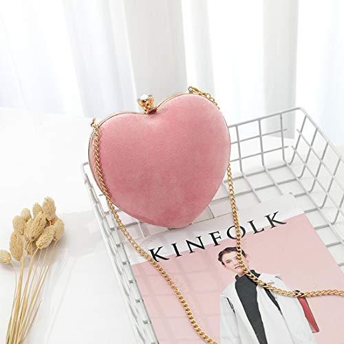 color Color Corazón Forma De Pink Embragues Pink Size Noche Niñas Bolsos Caja Sólido Mini Para S Ploekgda En EfYqwyROyI
