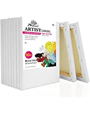Phoenix 8x10 inch Pre Stretched Canvas for Painting 10 Set of Value Pack 5/8 inch Profile for Acrylics, Oils and Other Painting Media
