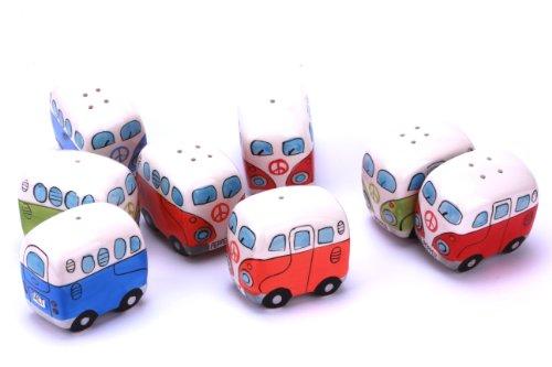 410ZWCdC45L 24-7sale Camper Bus Salzstreuer/Pfefferstreuer - aus Keramik, Farbe wählbar, im 2er Set. (Blau)