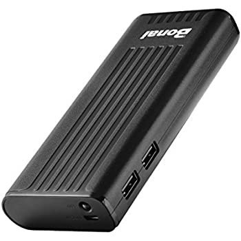 Bonai Power Bank Stripe 10,000mAh Portable Charger External Battery with Flashlight for iPhone 6 7 Plus / iPad / Samsung Galaxy S7 8 Note 8 and Other Phone & Tablet / Nintendo Switch Pixel (Black)