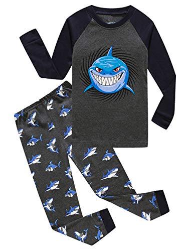 Shark Big Boys Long Sleeve Pajamas Sets 100% Cotton Sleepwear Kids Pjs Size 12 Grey]()