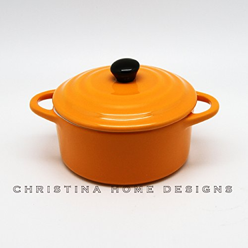 Christina Home Designs Casserole Dish   8 oz Mini Baker Casserole Dish with Lid and Handles   Dutch Oven For Everyday Use   Oven, Microwave, Dishwasher Safe For Small Pot, Stoneware Bakeware   Cooking