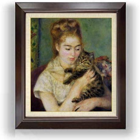 ルノワール ネコと少女 F10 油絵直筆仕上げ| 絵画 10号 複製画 ブラウン額縁 675×601mm