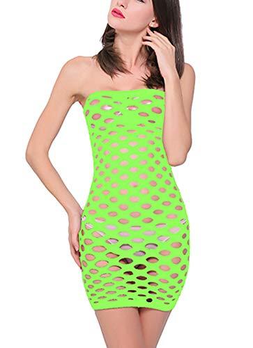 Woosifun Women Fishnet Lingerie See Through Sleepwear V-Neck Babydoll One Piece Mini Dress One Size (02 Green)