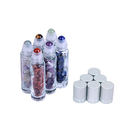 10ml Natural Gemstone Roller Ball Bottles 6 Pcs Essential Oil Roller Bottles With Crystal Healing Stones Chips Sample Roll On Bottles Clear Glass ()