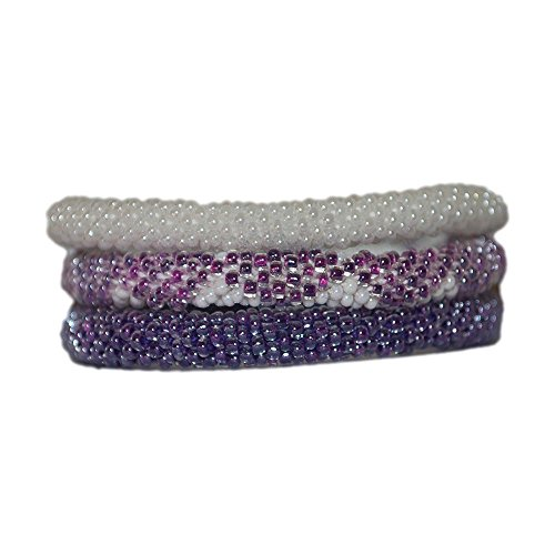Nuptse Neon Purple and White Handmade Beaded Bracelets Set,Seed Beads,Nepal, BS514 (Crocheted Beaded Bracelets By Lily And Laura)
