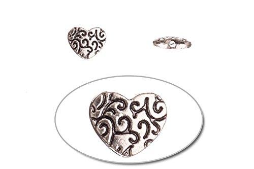 Silver 10mm Heart Beads - 2