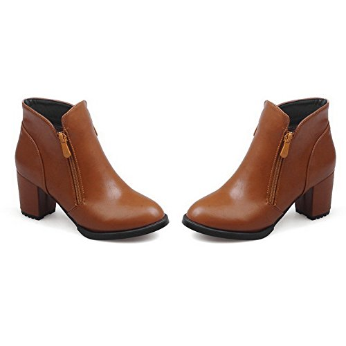 Allhqfashion Women's Kitten Heels Solid Round Closed Toe Soft Material Zipper Boots Brown b7DqKpKv