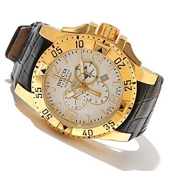 Invicta Men's 10520 Excursion Reserve Chronograph Silver Tone Textured Dial Black Leather Watch