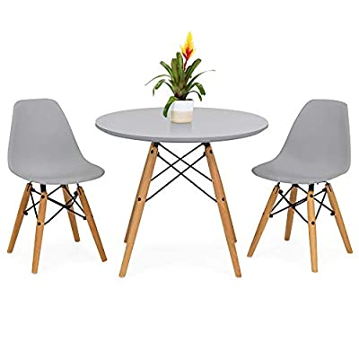 Best Choice Products Kids Mid-Century Modern Eames Style Dining Room Round Table Set w/ 2 Armless Wood Leg Chairs - Gray - The modern design of this 3-piece mini Eames style set will add a stylish appeal to any child's bedroom, playroom, or other lounging areas Kids dining set is crafted of durable plastic material, with wood legs and a sturdy wire metal base to last throughout the younger years 2 included chairs are made with an ergonomic, curved back design to promote good posture and provide hours of comfort - kitchen-dining-room-furniture, kitchen-dining-room, dining-sets - 410ZXl7RswL. SS400  -