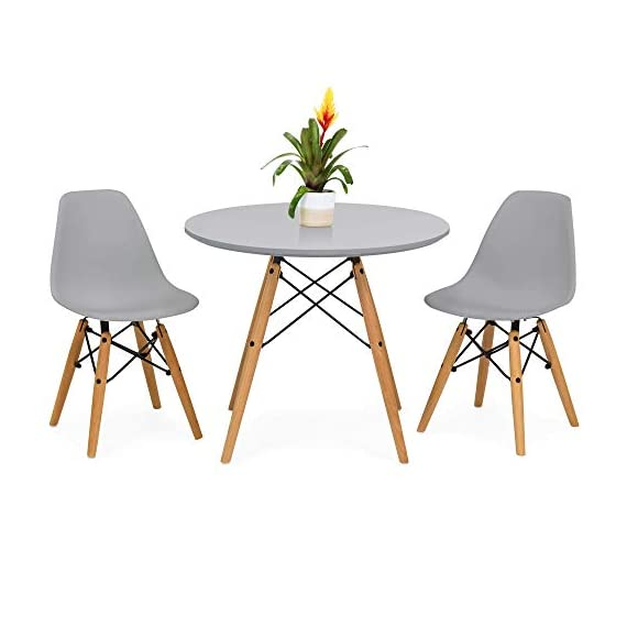 Best Choice Products Kids Mid-Century Modern Dining Room Round Table Set w/ 2 Armless Wood Leg Chairs - Gray - ATTRACTIVE DESIGN: The modern design of this 3-piece mini mid-century set will add a stylish appeal to any child's bedroom, playroom, or other lounging areas COMFORTABLE CHAIRS: 2 included chairs are made with an ergonomic, curved back design to promote good posture and provide hours of comfort EASY MAINTENANCE: Small table and chair set is tailored specifically for children, with easy-to-clean seats and tabletop to keep spills from being an issue - kitchen-dining-room-furniture, kitchen-dining-room, dining-sets - 410ZXl7RswL. SS570  -