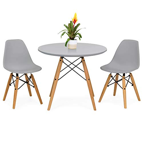 Best Choice Products Kids Mid-Century Modern Eames Style Dining Room Round Table Set w 2 Armless Wood Leg Chairs – Gray