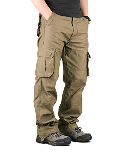TAIPOVE Men's Military Tactical Work Cargo Pants Casual Relaxed-Fit 6 Pocket Army Green ()