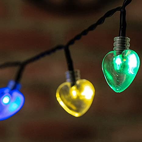 Guirnalda de luces LED solar, 50 LED, 5 m, diseño de corazón de colores, ideal para uso exterior: Amazon.es: Jardín